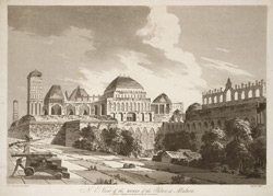 'N. E. view of the Ruins of the Palace at Madura'. Uncoloured aquatint by J. Wells after a drawing on the spot by Capt. Trapaud, part of a set of his twenty views published London, 1788